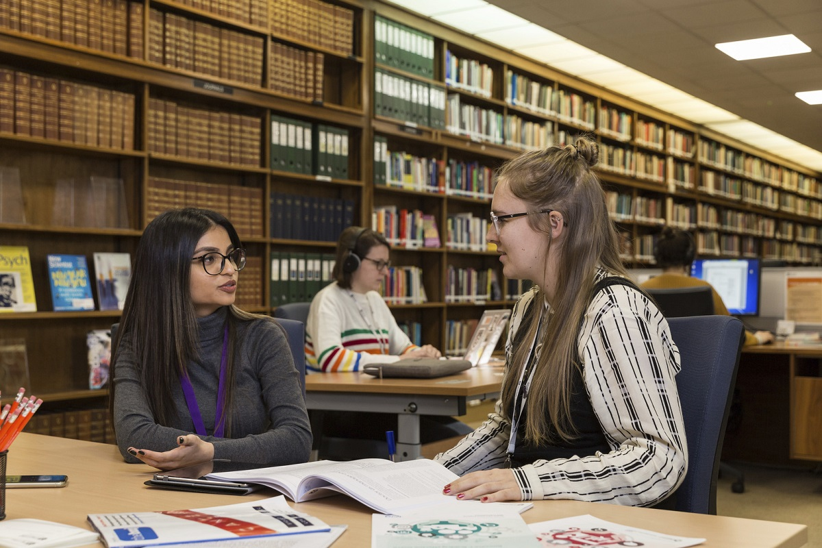 Visitors using library reading room
