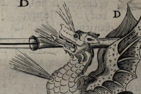 Engraved illustration of a dragon in fireworks