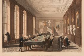 An engraving of 19th-century examinations in the Long Room, Warwick Lane.